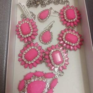 Jewelry - Pink Rhinestone Fashion Necklace & Earrings